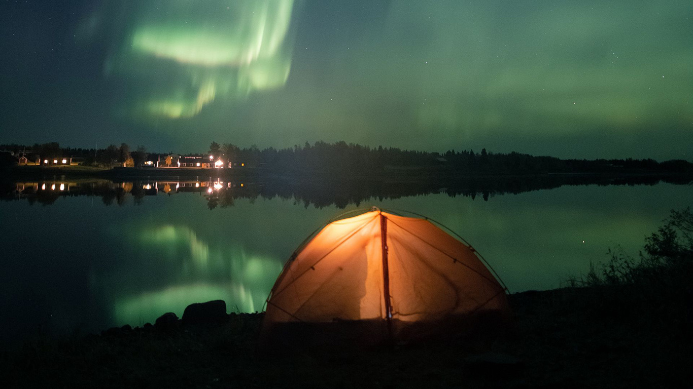 Tent, Night, Northern, Lights Wallpapers Free Download