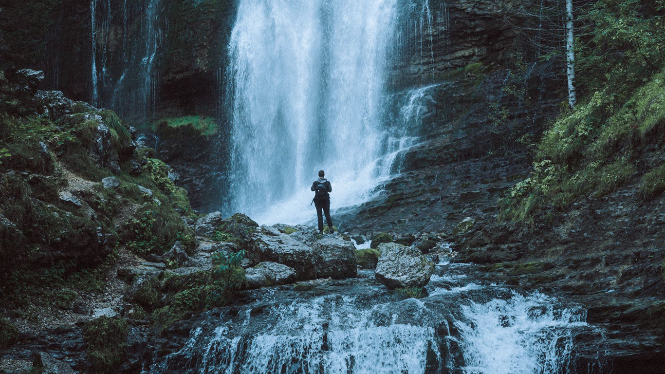 Waterfall, Man, Alone Wallpapers Download
