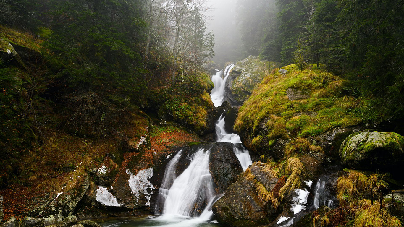 Waterfall, River, Fog Wallpapers Download