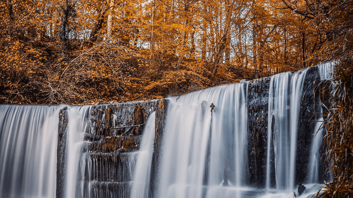 Waterfall, River, Trees Wallpapers Download
