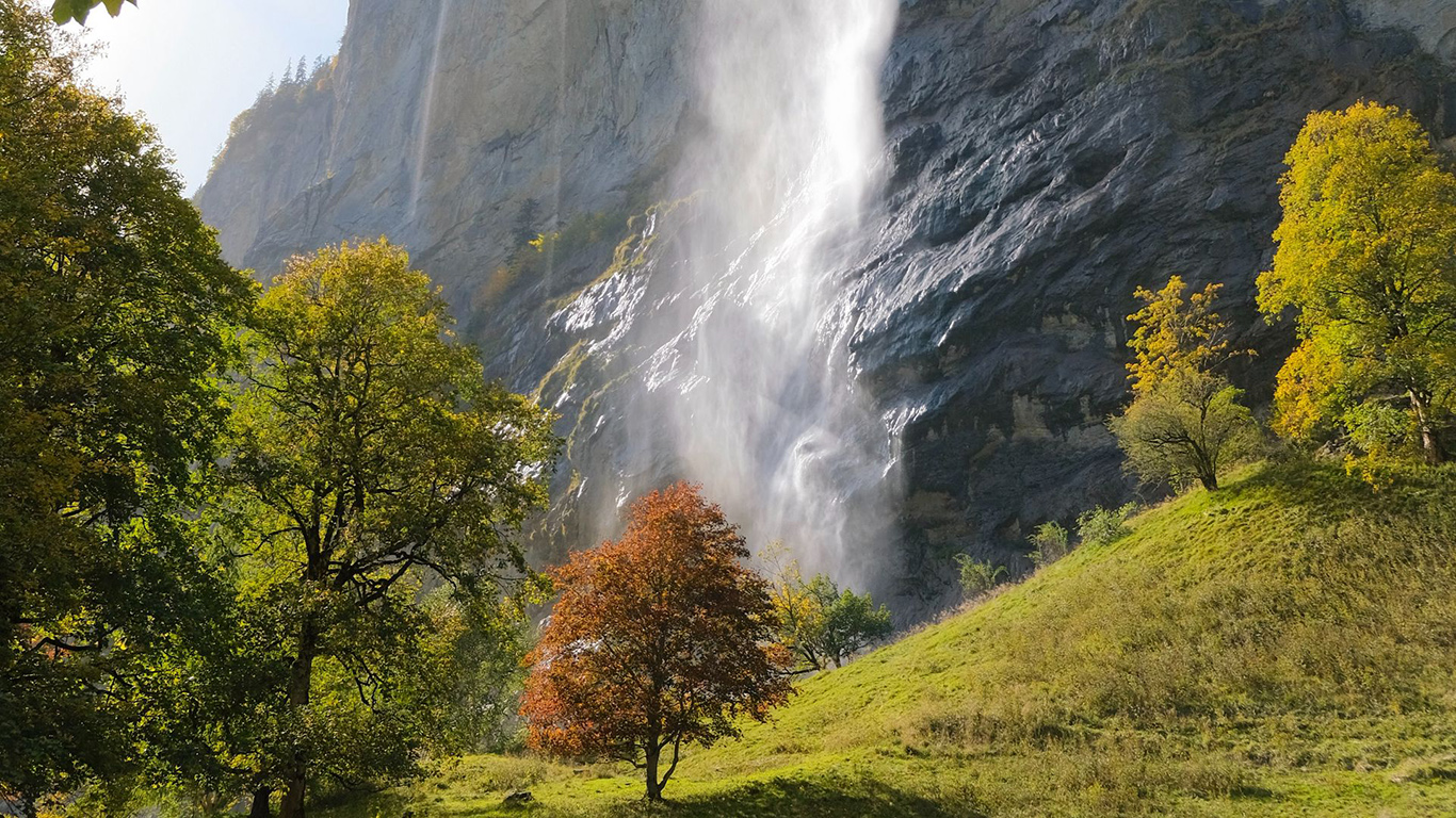 Waterfall, Rock, Trees Wallpapers Download (2)