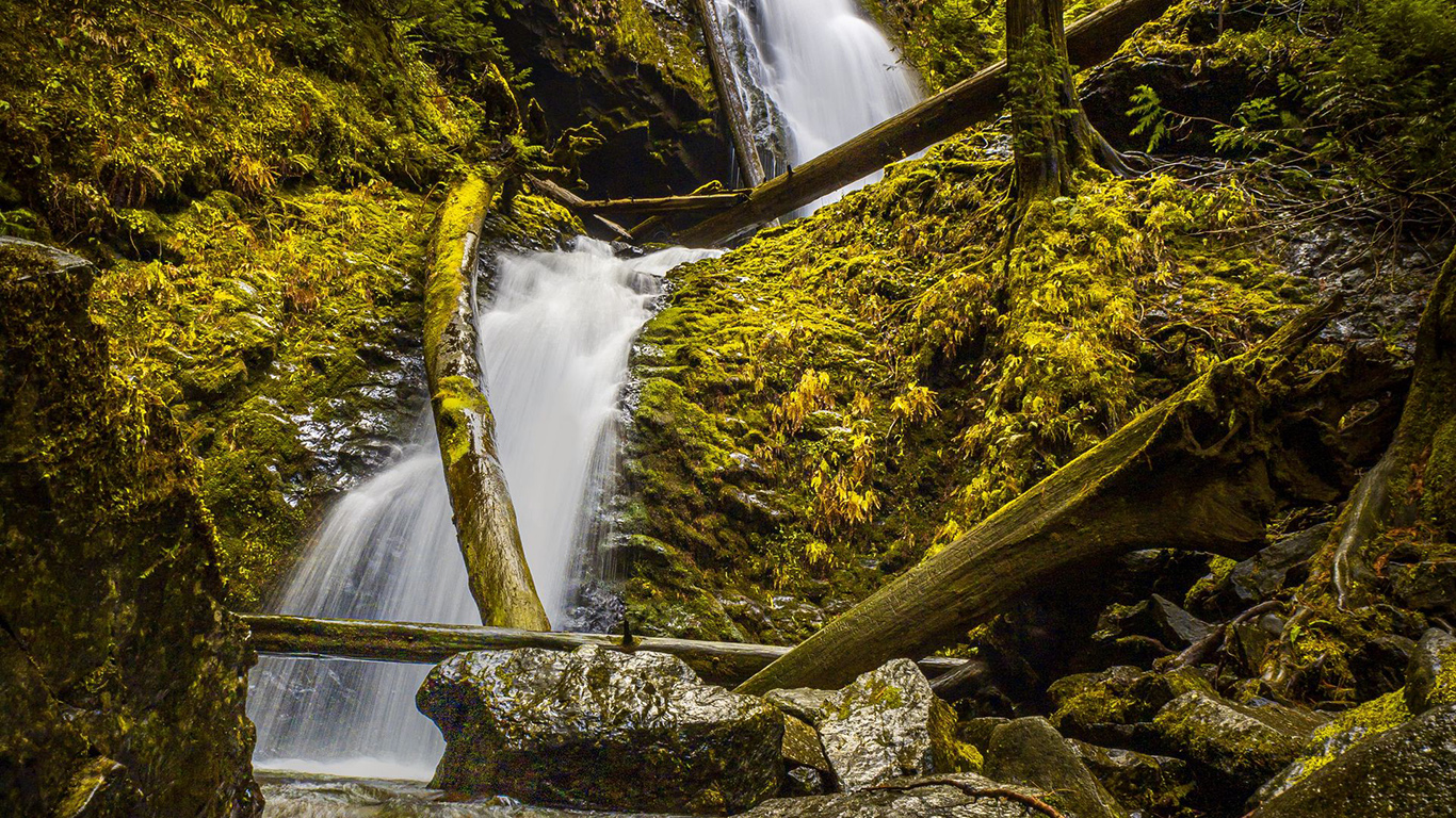 Waterfall, Rock, Trees Wallpapers Download