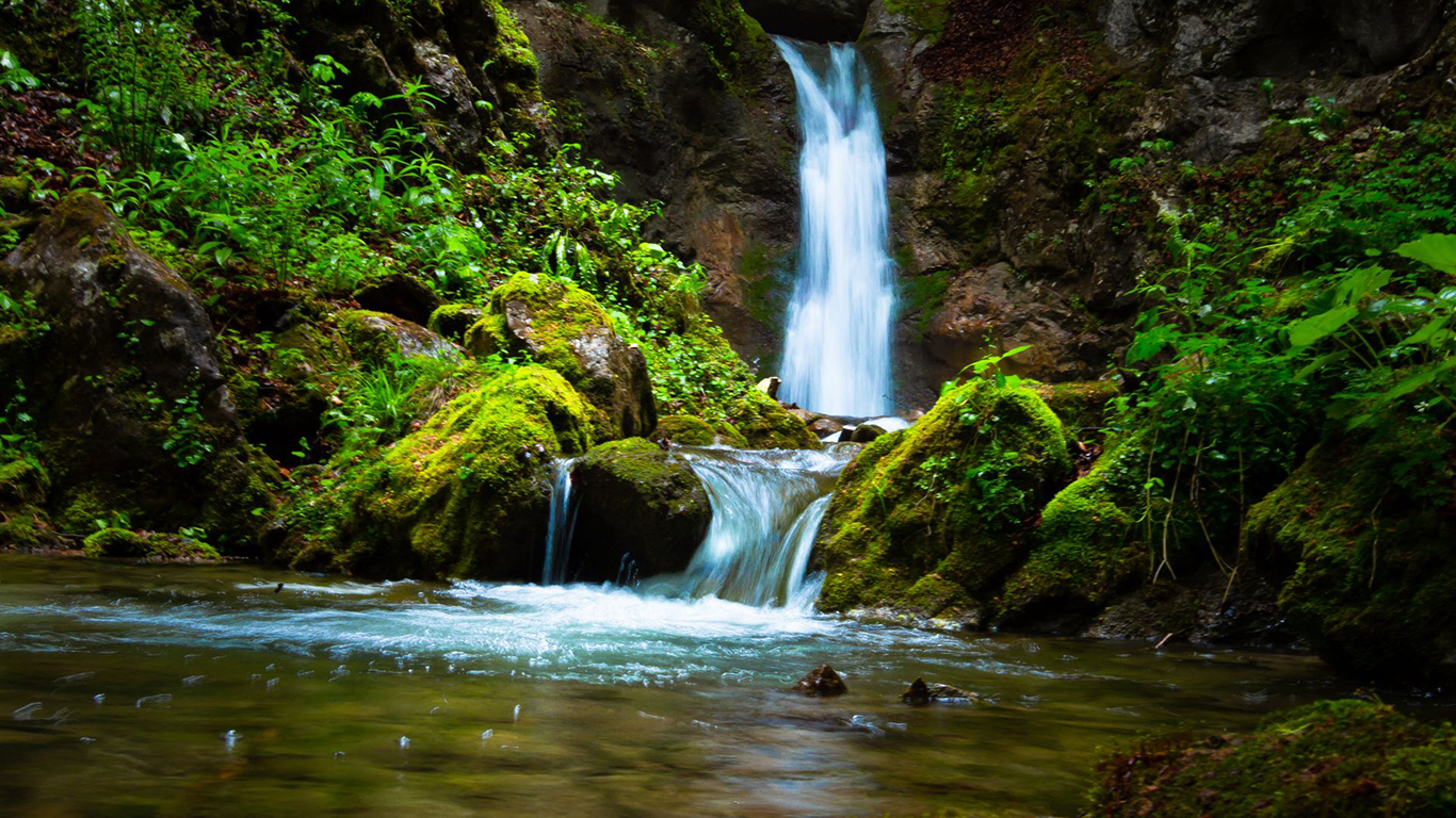 Waterfall, Stream, Rock Wallpapers Download (2)