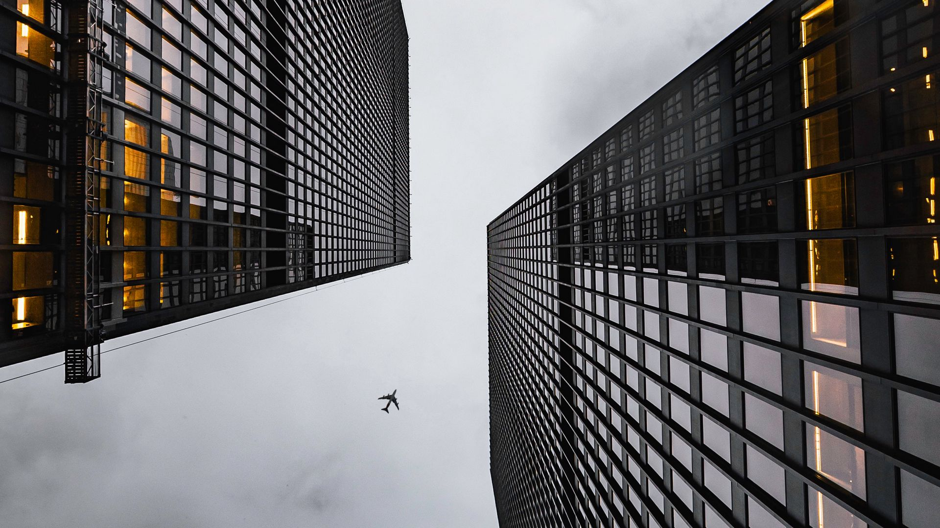 Airplane Buildings Skyscrapers Wallpapers Free Download