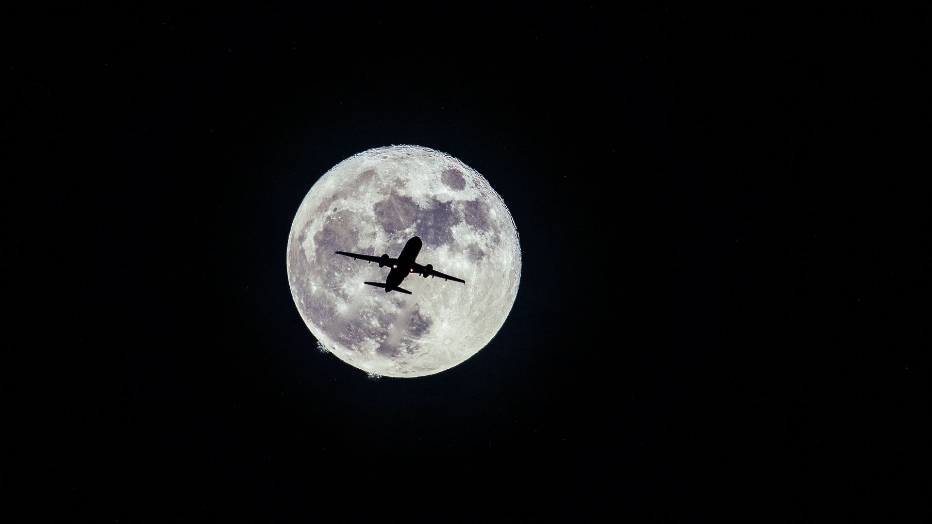 Airplane, Moon Flight Wallpapers Free Download