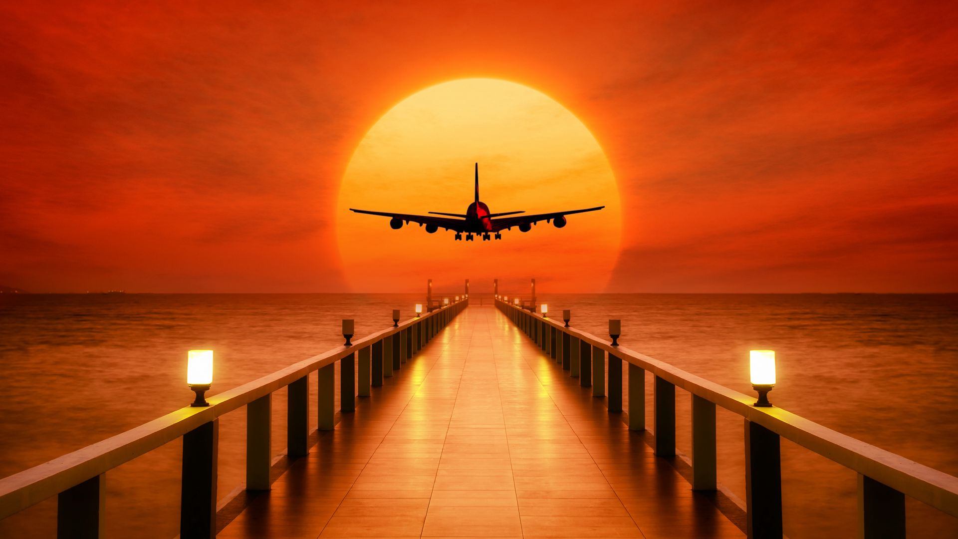 Airplane, Photoshop, Sunset, Wharf Wallpapers Free Download