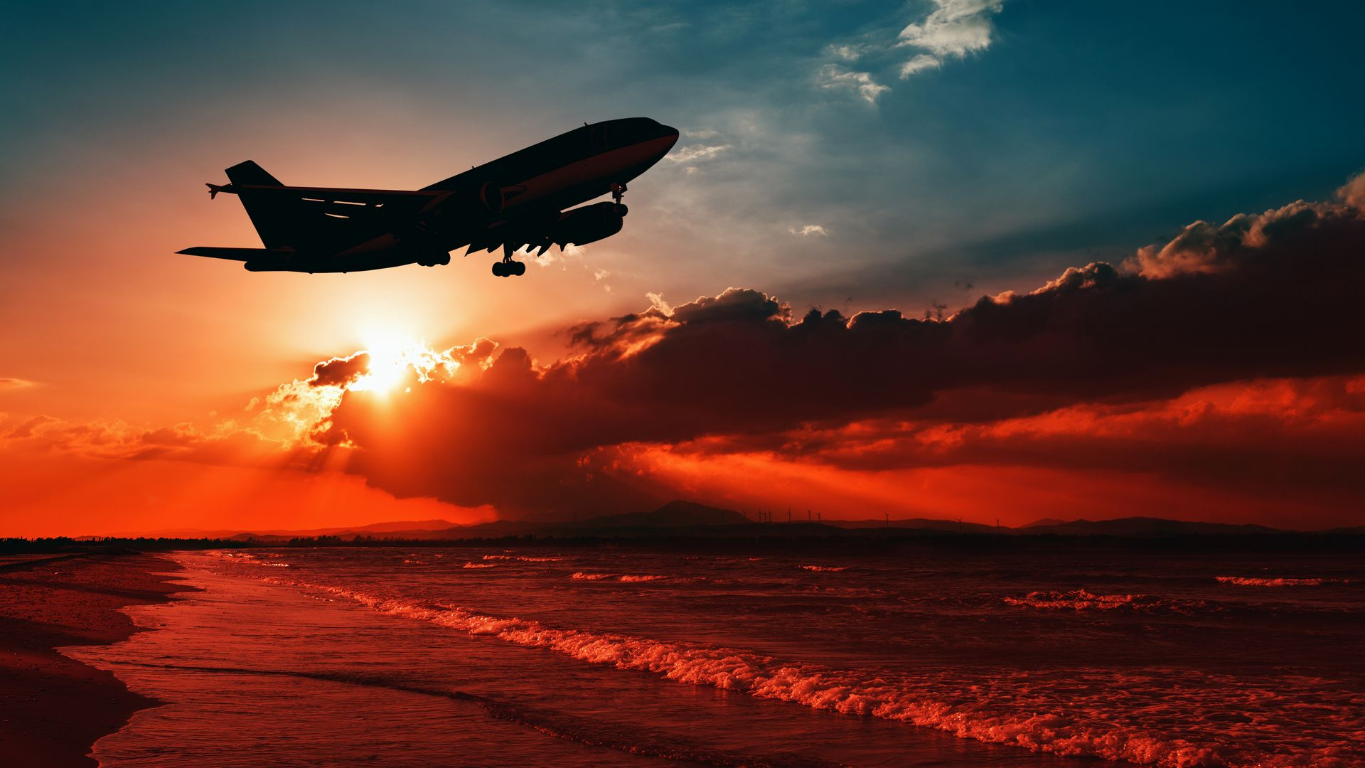 Airplane, Sea, Sunset Wallpapers Free Download