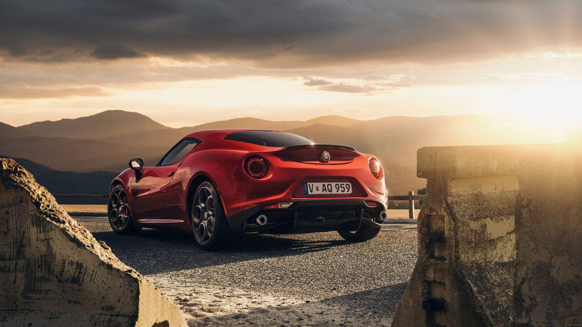 Alfa Romeo, 4c, Launch Edition, Red, Rear, View Wallpapers Free Download