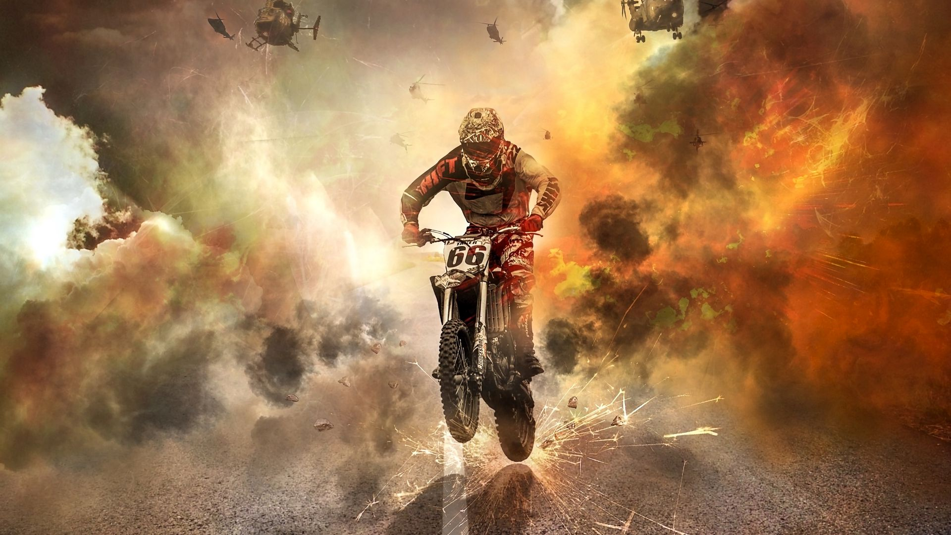 Motorcyclist, Motorcycle, Helicopters Download Free HD Wallpapers