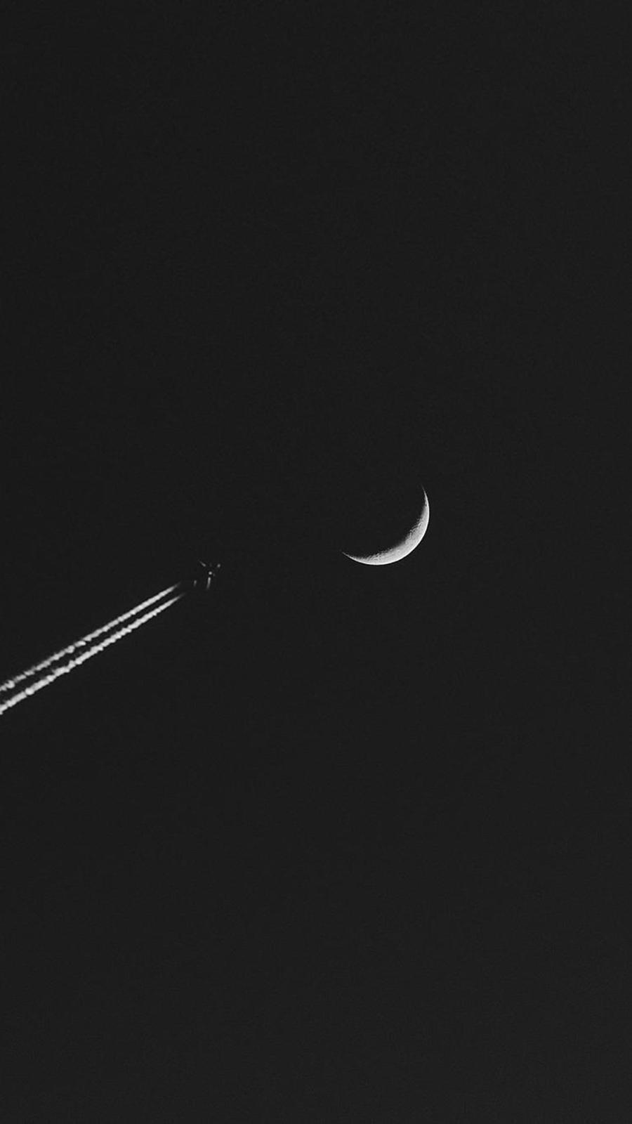 Airplane Moon Minimalism Wallpaper