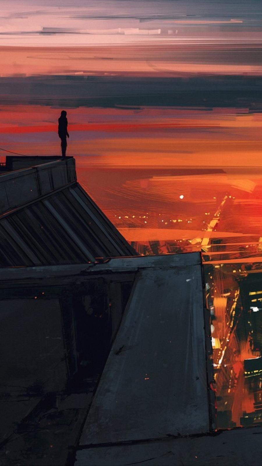 Artistic Red City Jm Wallpaper
