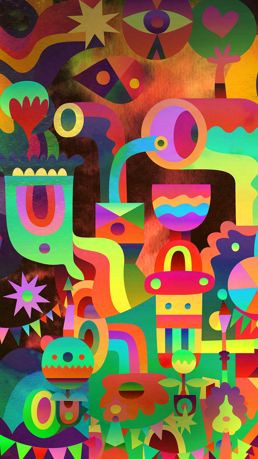 3D Abstract Colorful Shapes Android Wallpaper