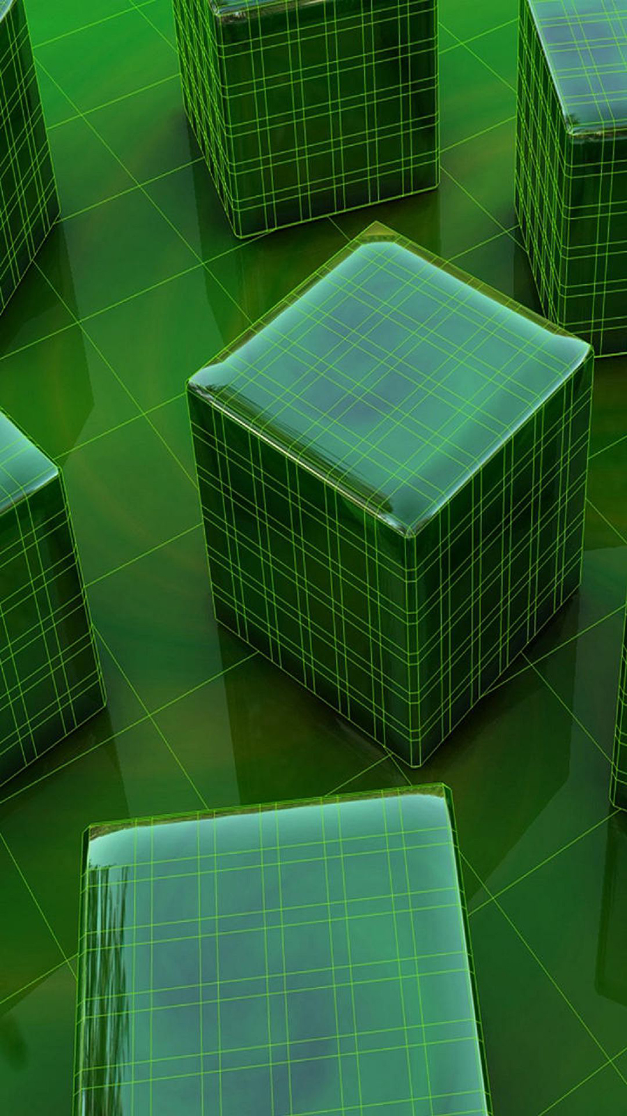 3D Green Boxes CGI Android Wallpaper