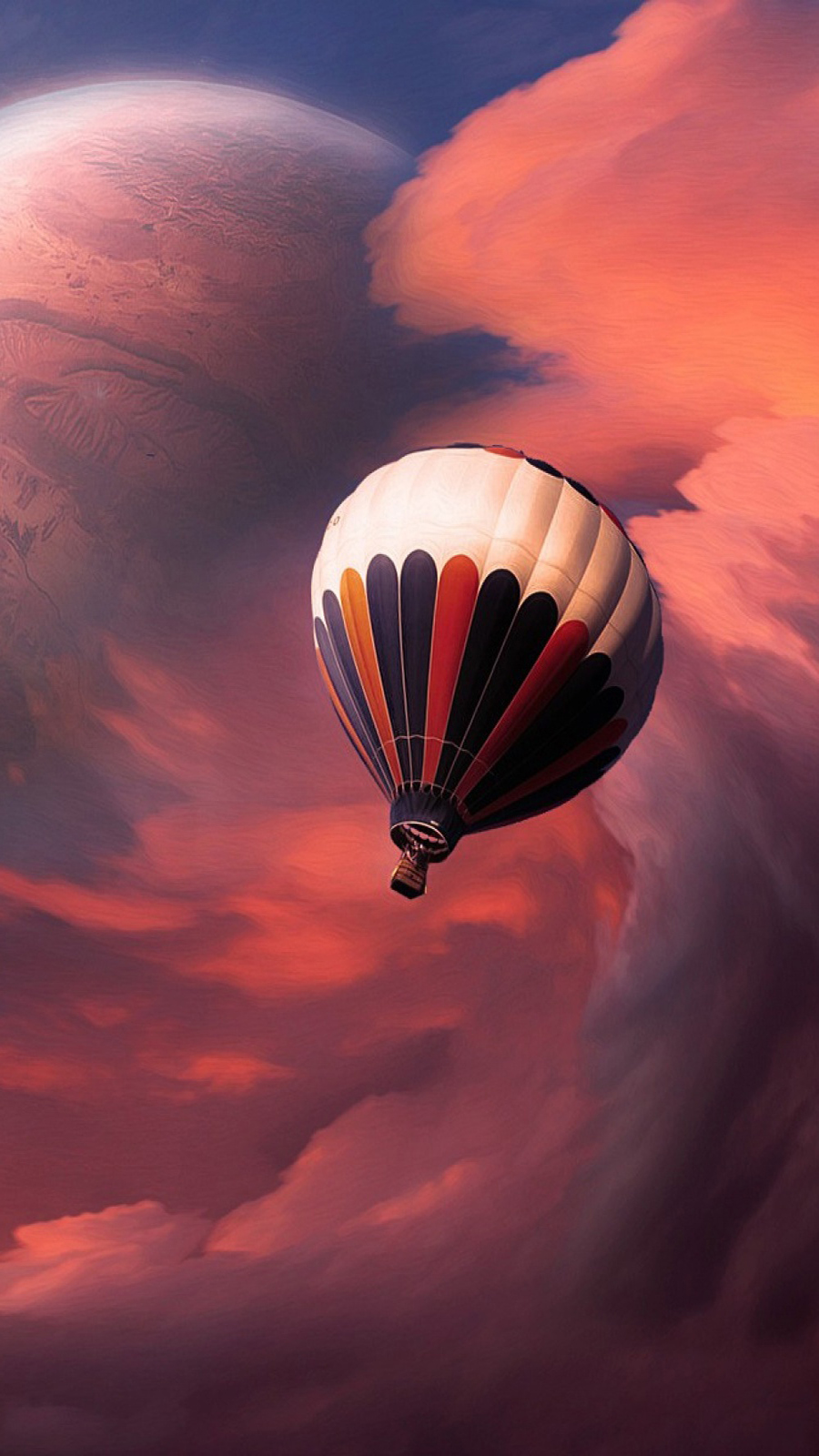 Air Baloon Distant Planets Illustration Wallpapers