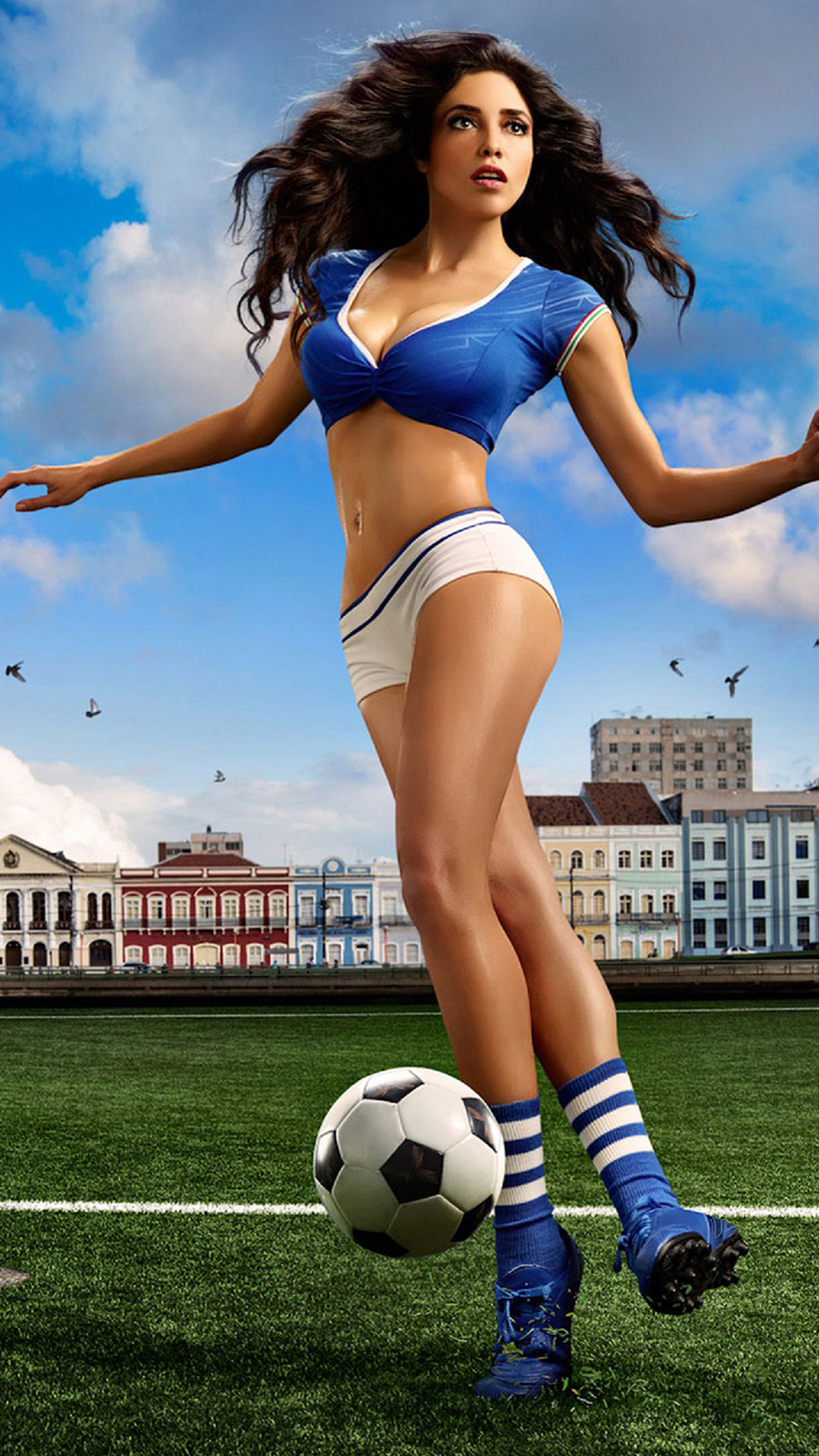 FIFA World Cup 2014 Brunette Sexy Girl Phone Wallpapers Free Download
