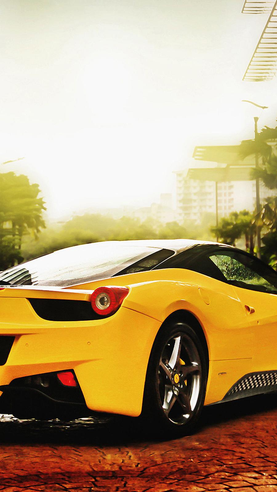 Ferrari 458 Spider Yellow Phone Wallpapers Free Download
