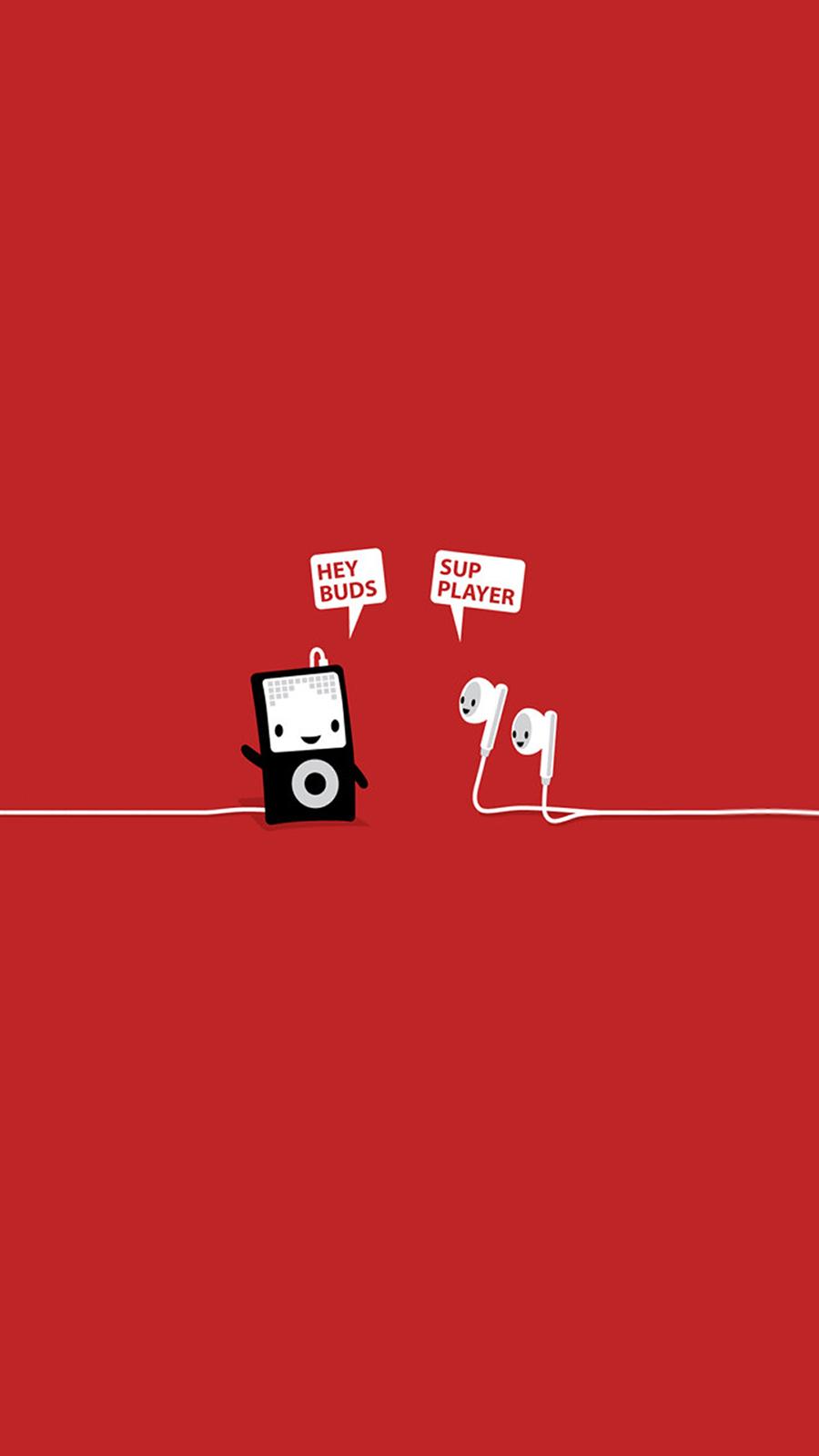 Funny Music Player Earphones Buds HD Wallpaper