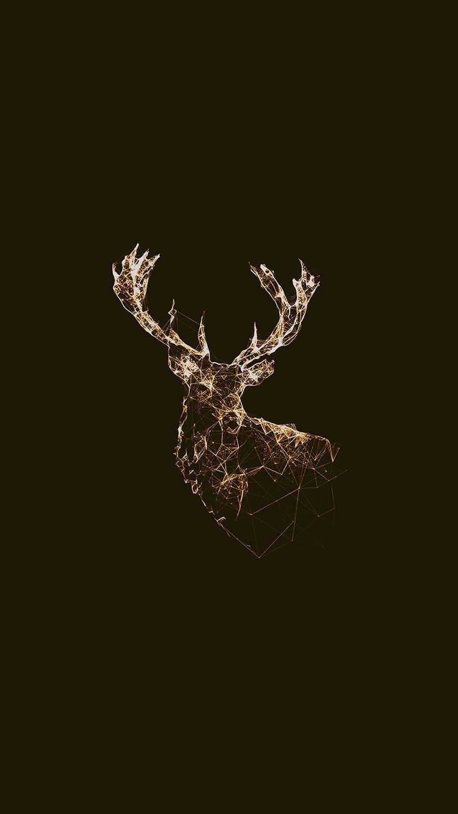 Golden Low Poly Deer Illustration Android Wallpaper
