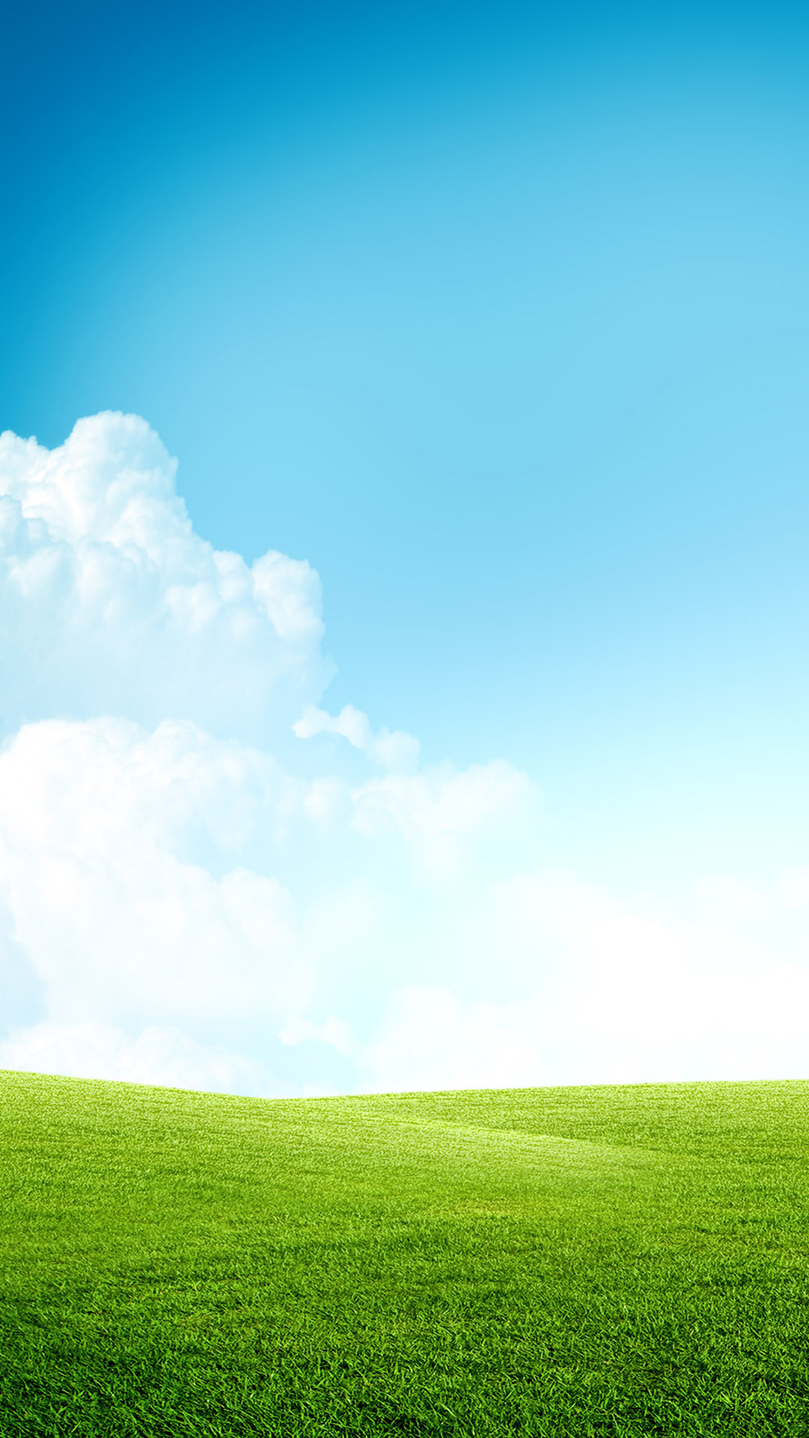 Grass Field Blue Sky Clouds Android Wallpaper