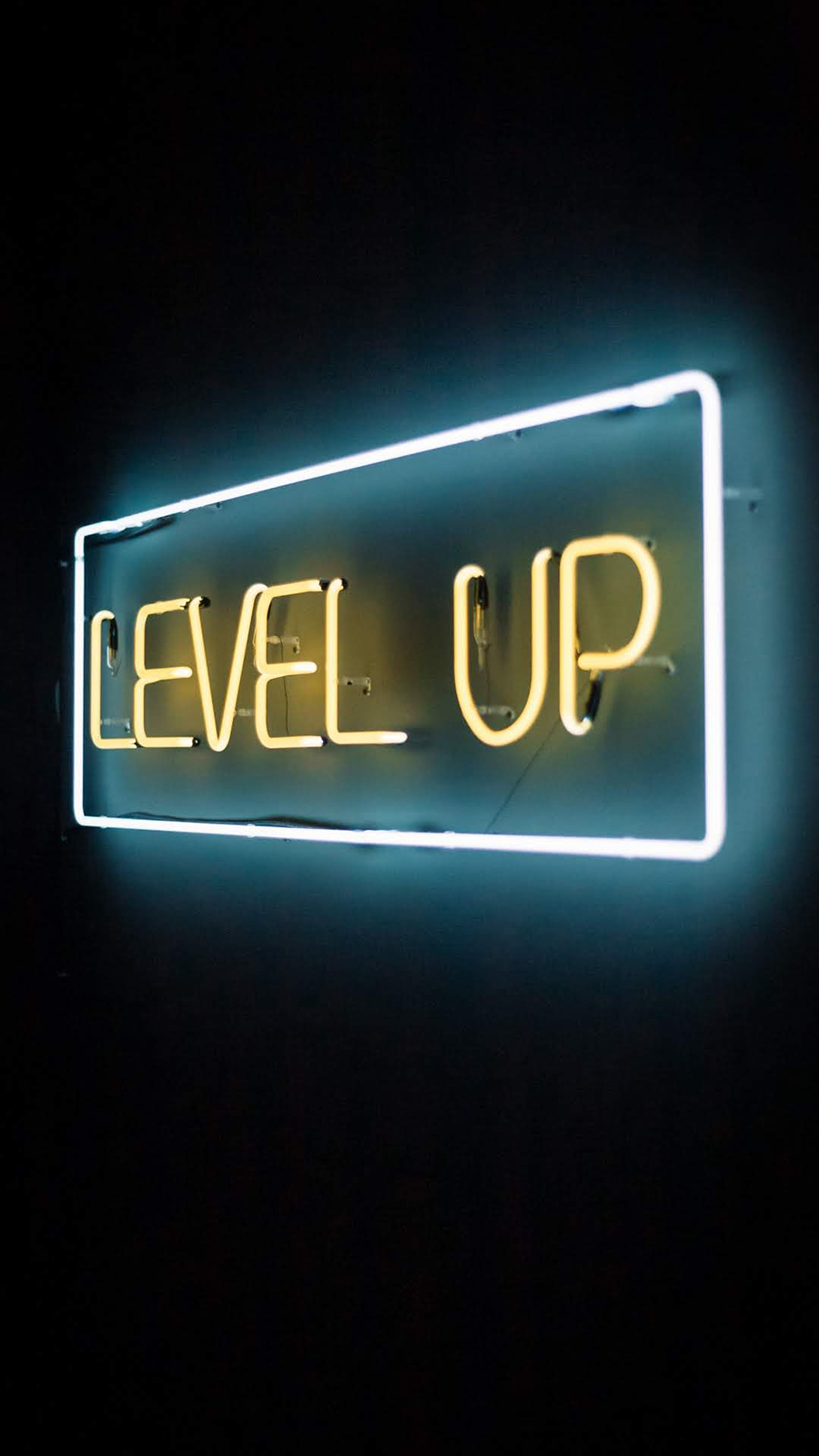 Neon Level Up Text Wallpaper – Word & Text Wallpapers Free Download