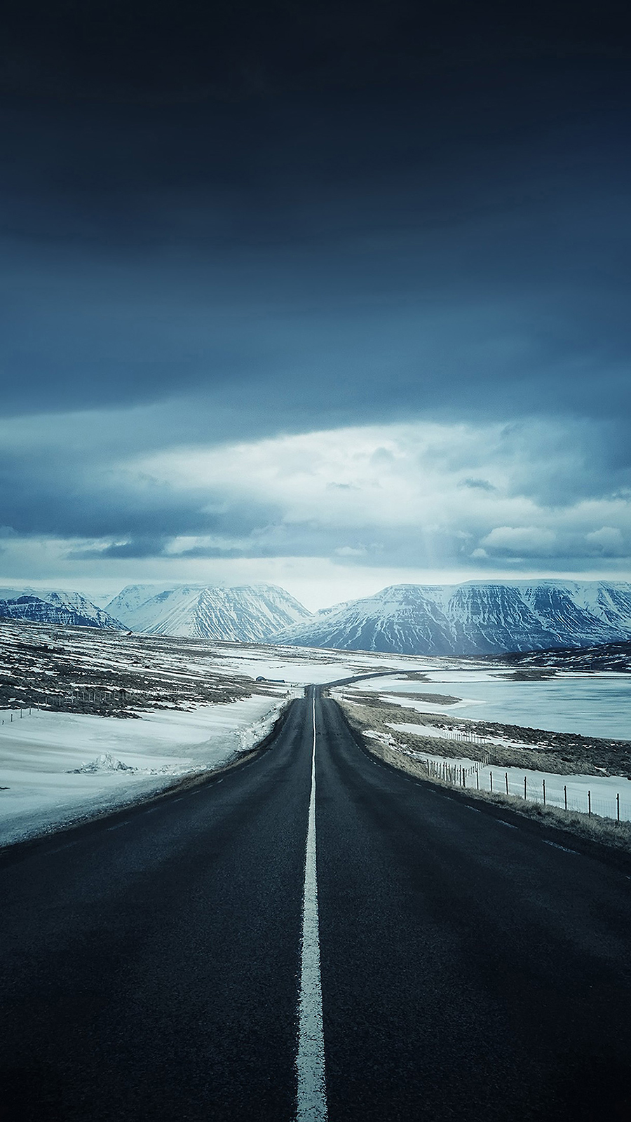 Empty Road To Snow HD Wallpapers Free Download
