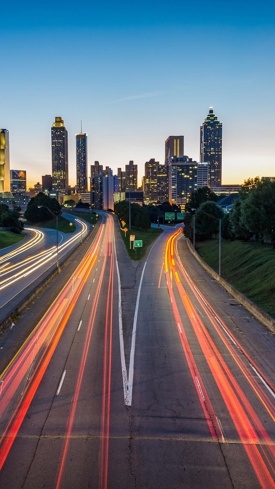 Atlanta Usa Road & Skyscrapers Free Wallpapers Download