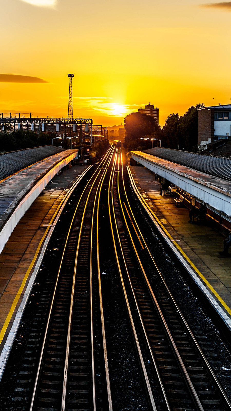 Railroad Train Sunset Free Wallpapers Download