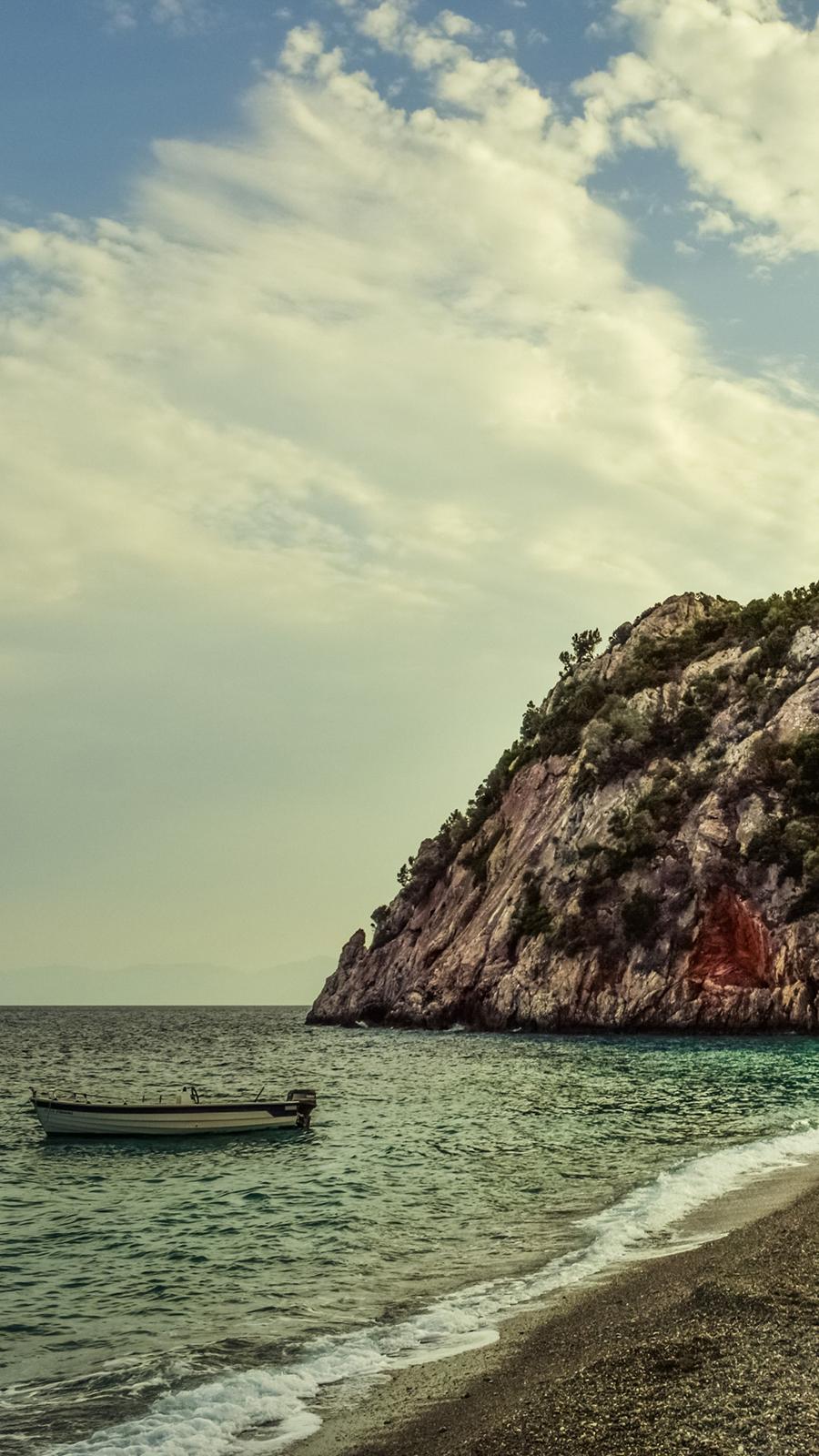 Sea, Rock, Boat, Shore Wallpapers Download