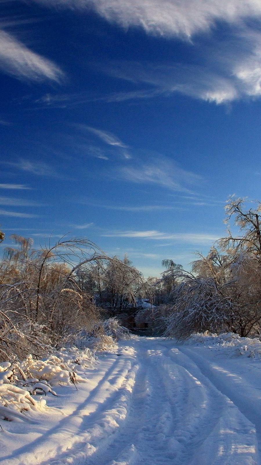 Sky, Winter, Snow, Road Wallpapers Download