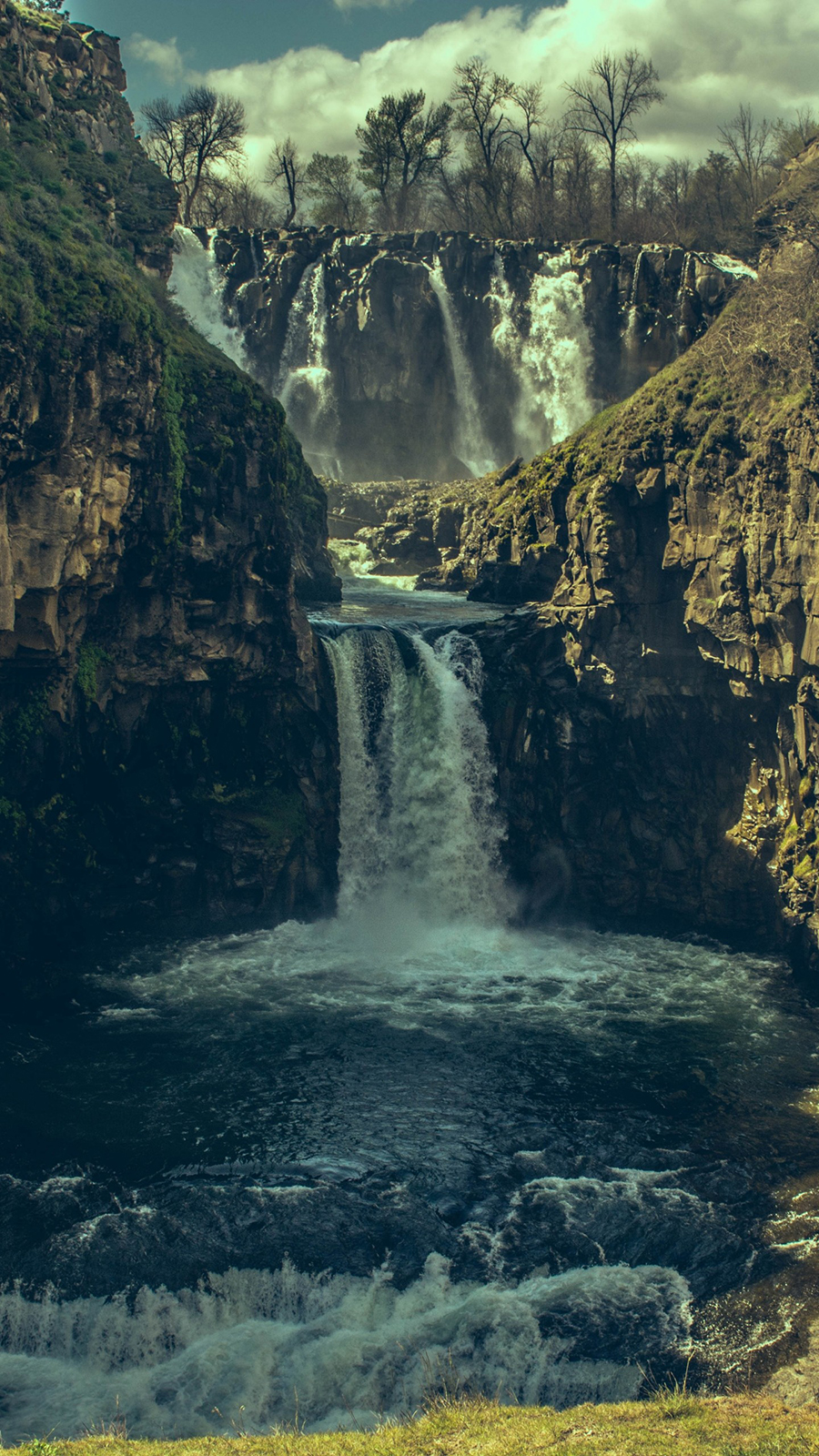 Waterfall Precipice Stones Wallpapers Free Download
