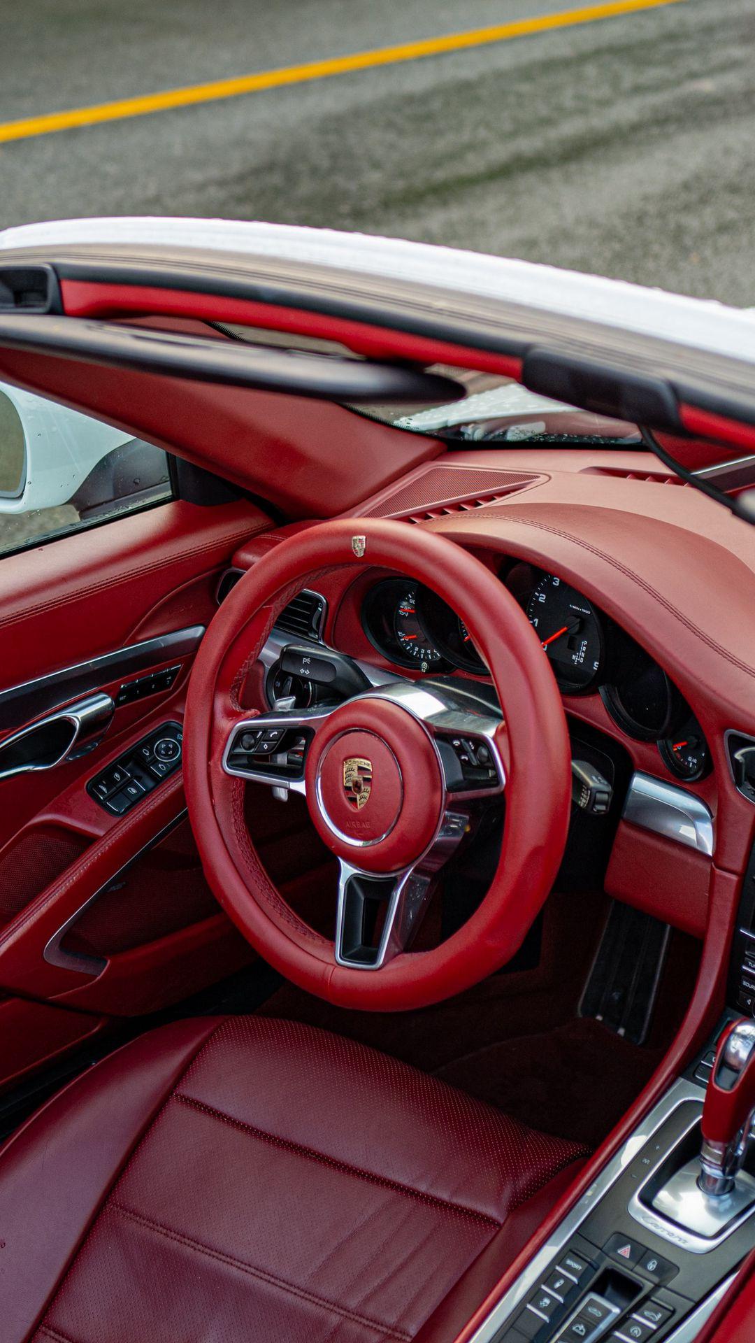 Porsche Steering Wheel Red Decor Background Wallpapers